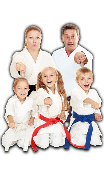 Martial Arts Lessons for Families in Angleton TX - Sitting Group Family Banner
