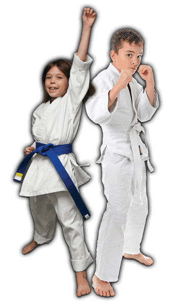 Martial Arts Lessons for Kids in Angleton TX - Happy Blue Belt Girl and Focused Boy Banner